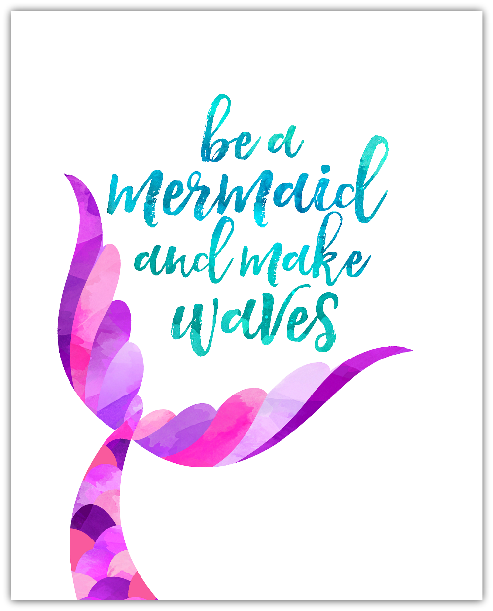 photo relating to Printable Mermaid Pictures identify Be a Mermaid and Create Waves No cost Printable - Joyful-Shift-Fortunate