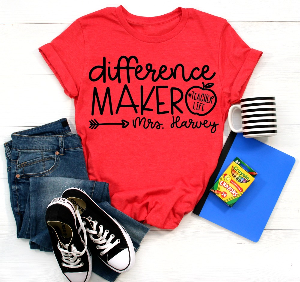 Difference Maker SVG on Red Shirt