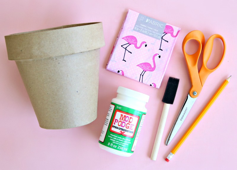 Supplies needed to decorate flower pots with fabric