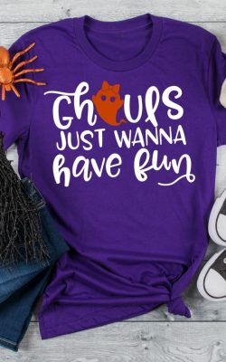Ghouls Just Wanna Have Fun Free SVG Cut File on Purple Shirt