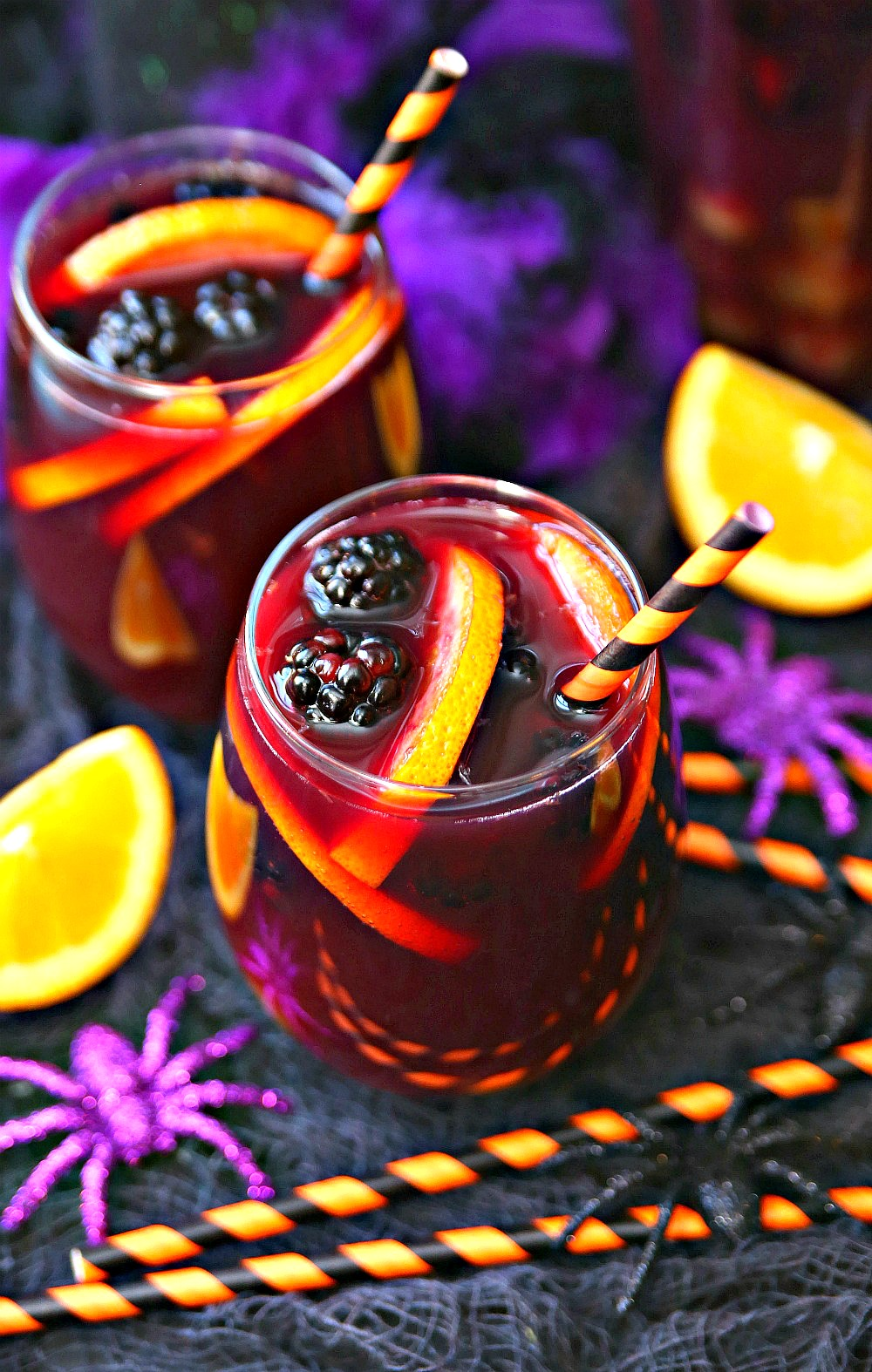 Halloween Sangria packed full of wine, brandy, orange juice and fresh fruit.