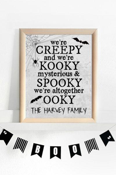 Addams Family Printable in Frame