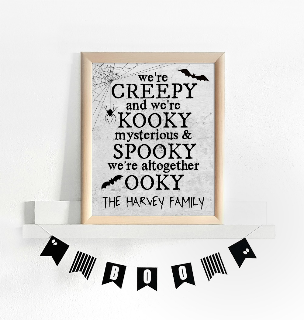 Addams Family Printable in Frame