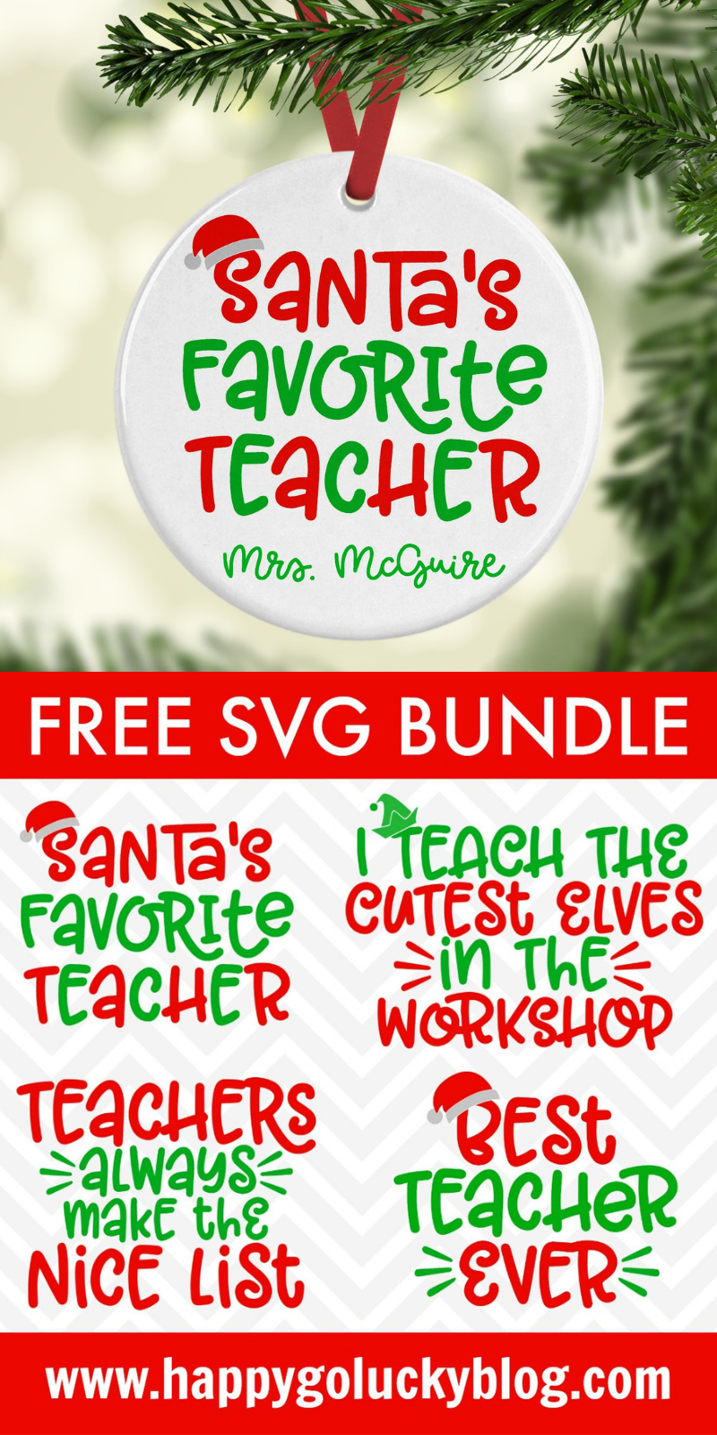 Happy Go Lucky Free Christmas Teacher SVG Bundle
