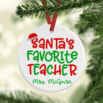 Santa's Favorite Teacher Ornament Square