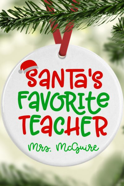 Santa's Favorite Teacher Ornament Square