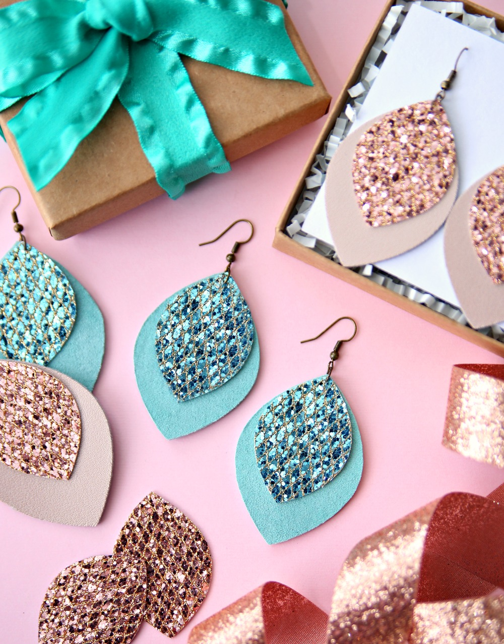 Leather earrings made with Cricut