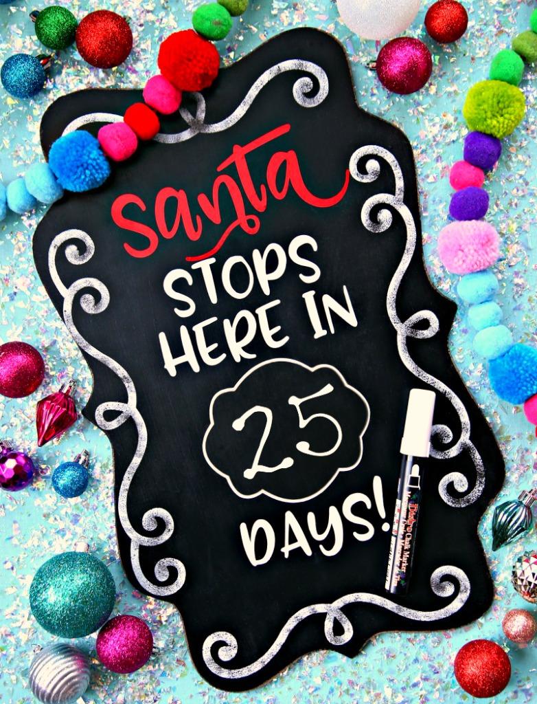Santa Countdown Chalkboard