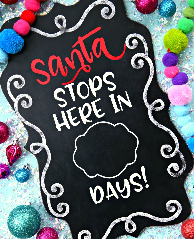 Santa Stops Here Countdown with Free SVG Cut File