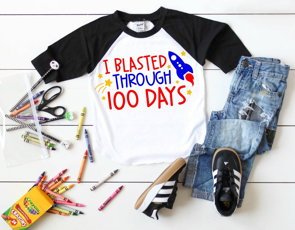 I blasted though 100 days of school SVG cut file on t-shirt.