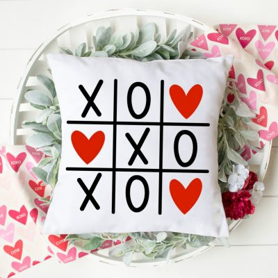 Valentine's Day Tic Tac Toe SVG Cut File on Pillow