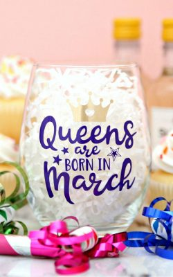 Birthday queen wine glass made with Cricut