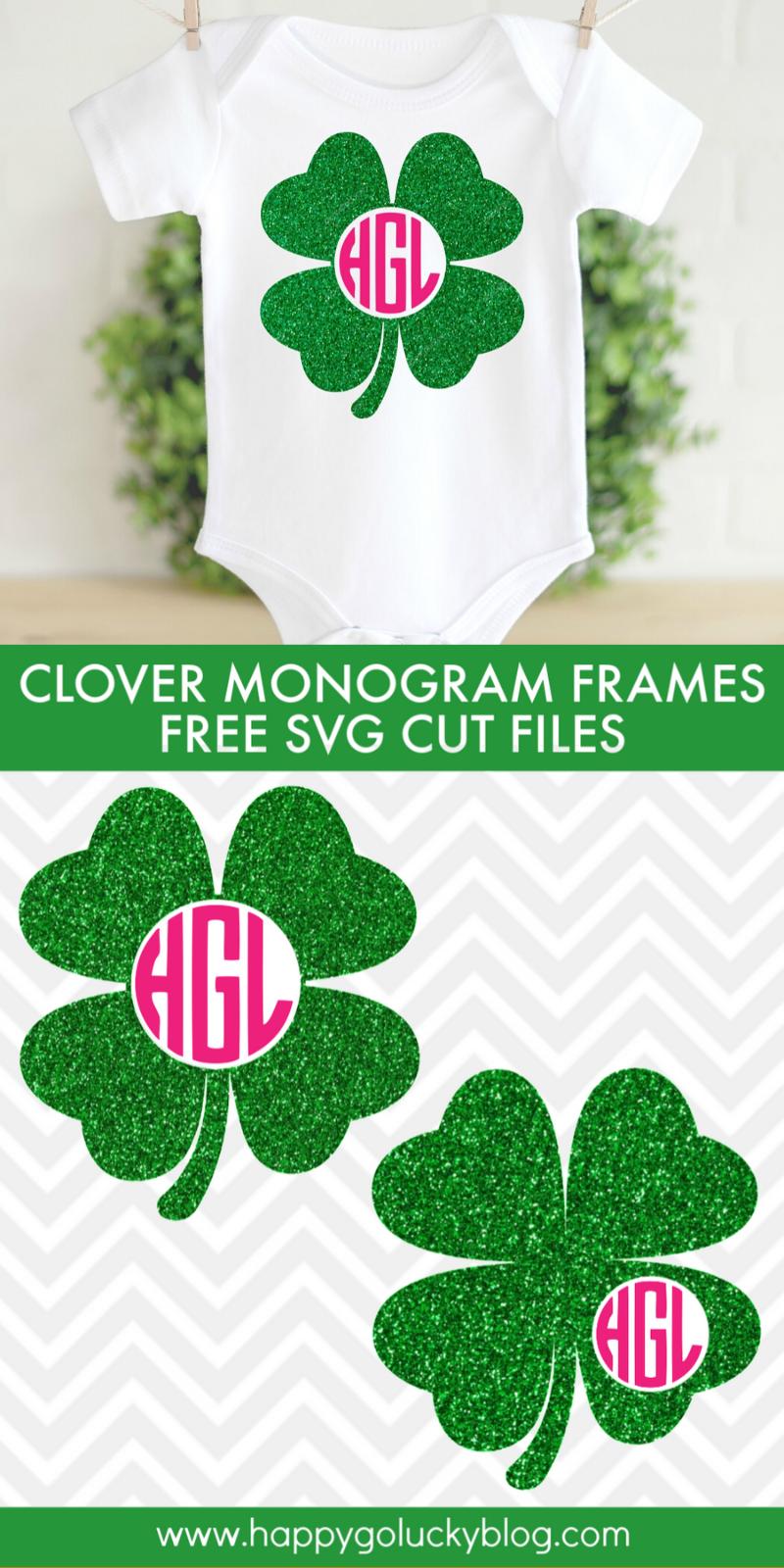 Lucky Clover Monogram Frames SVG Cut Files