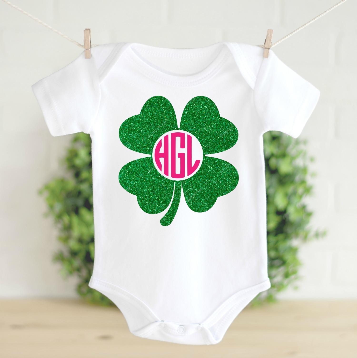 Clover Monogram Frames SVG Cut Files on baby onesie