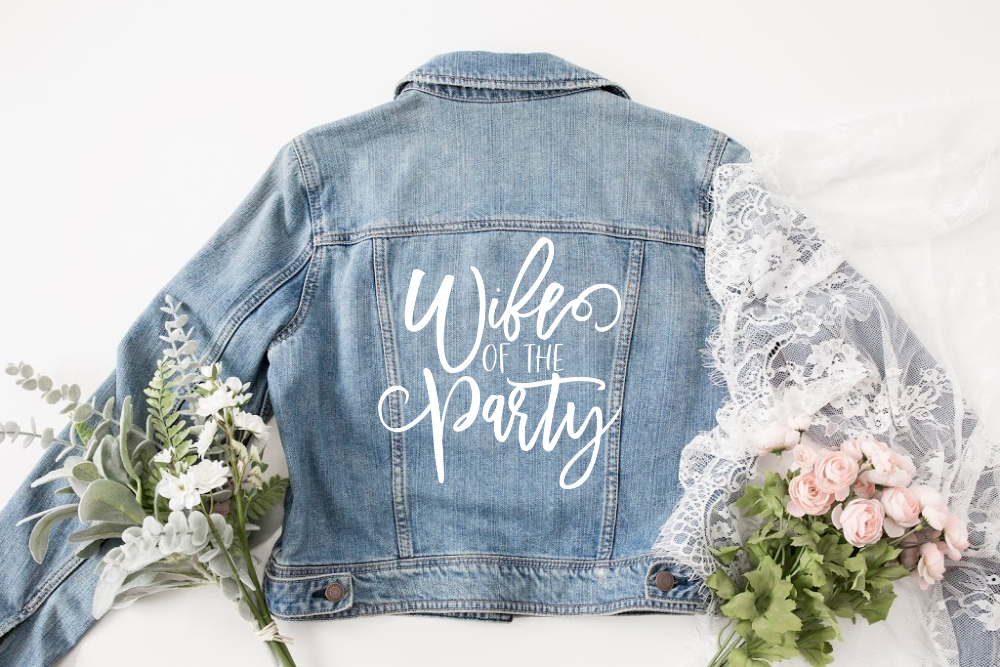Wedding Jean Jacket with Life of the Party Free SVG