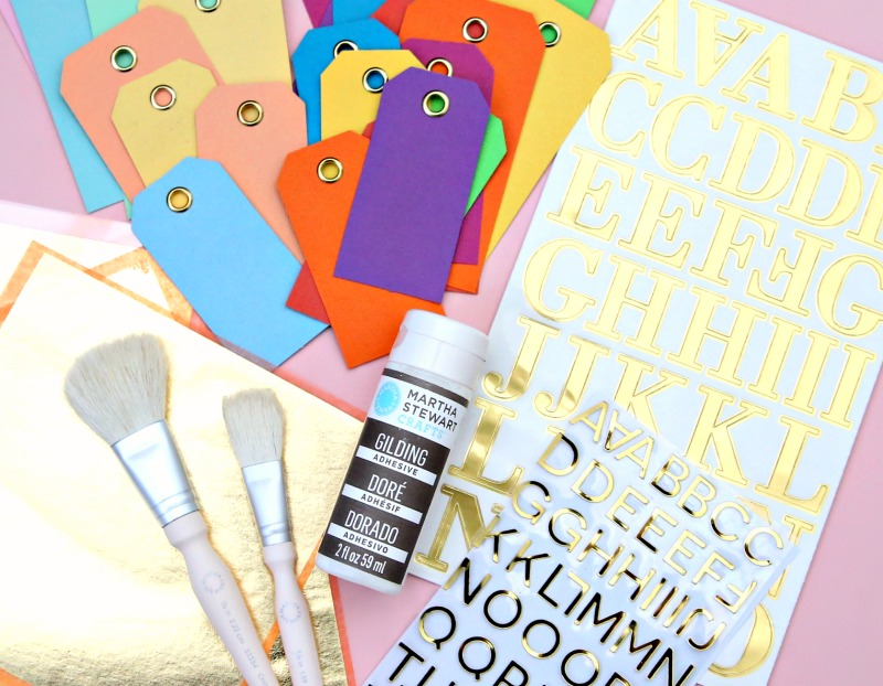 Supplies needed to make personalized gift tags
