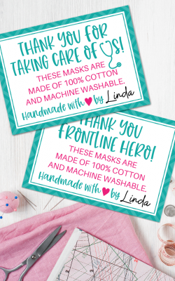 Face Masks Thank You Cards Free Printable