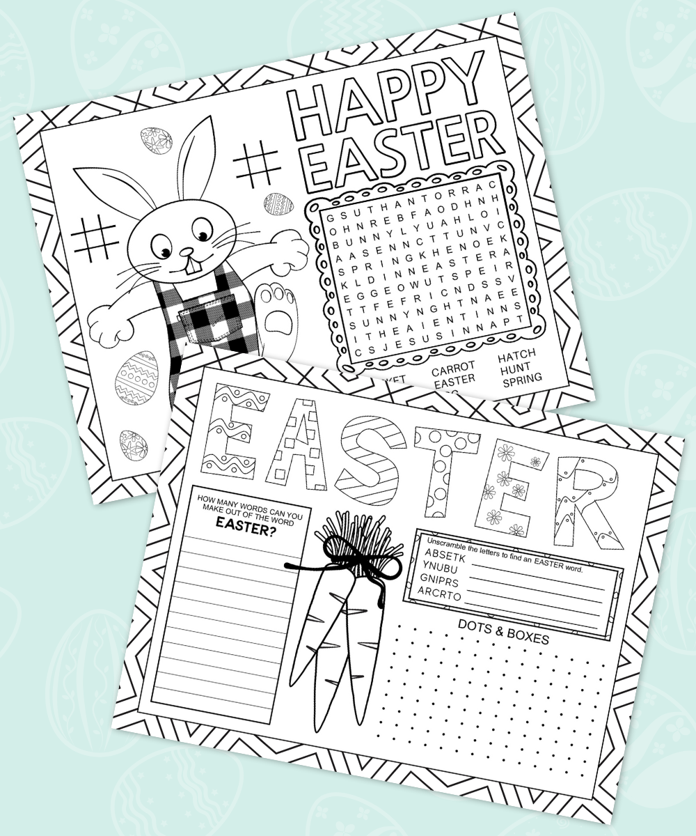 Easter Activity Placemat Printable
