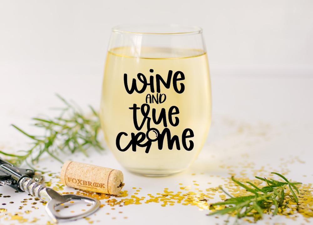 Wine and True Crime SVG on wine glass