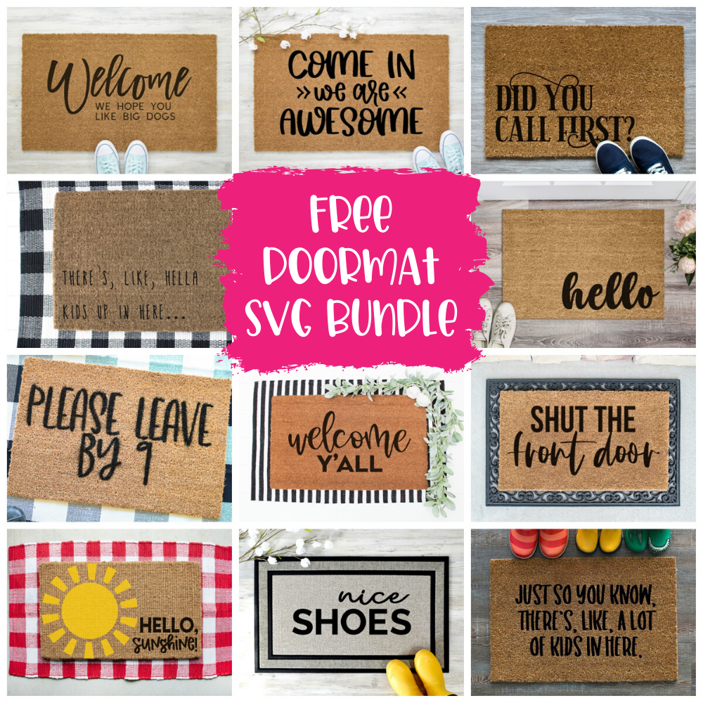 Free Doormat SVG Bundle - DIY Stenciled Doormat with Cricut