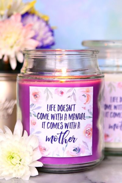 Mother's Day Candles with Free Printable Labels