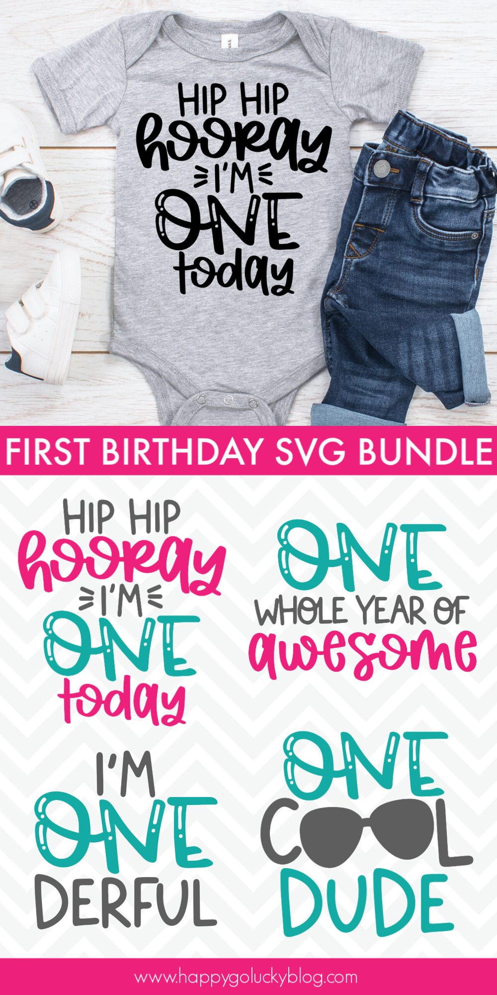 Happy Go Lucky Free Cut Files First Birthday Bundle