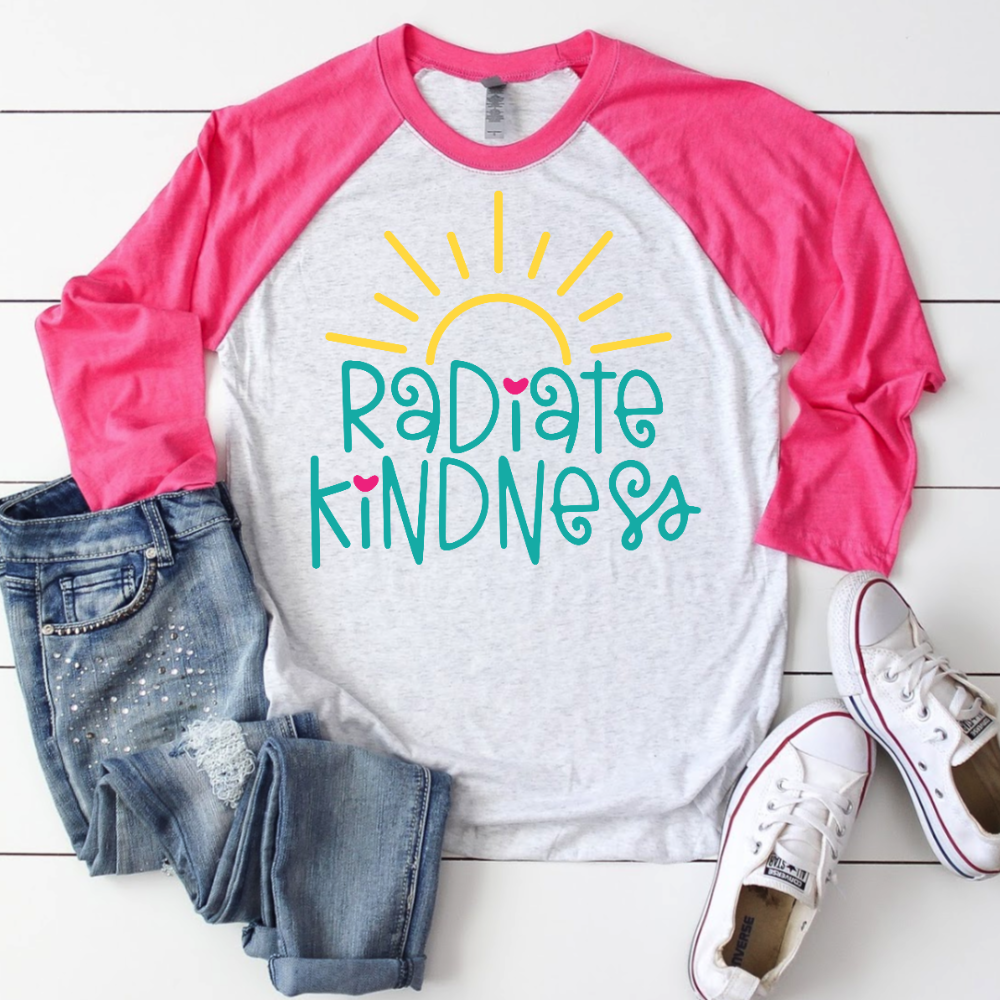 Pink Shirt Mockup with Radiate Kindness SVG