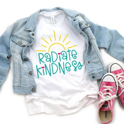 Radiate Kindness SVG on blank white shirt