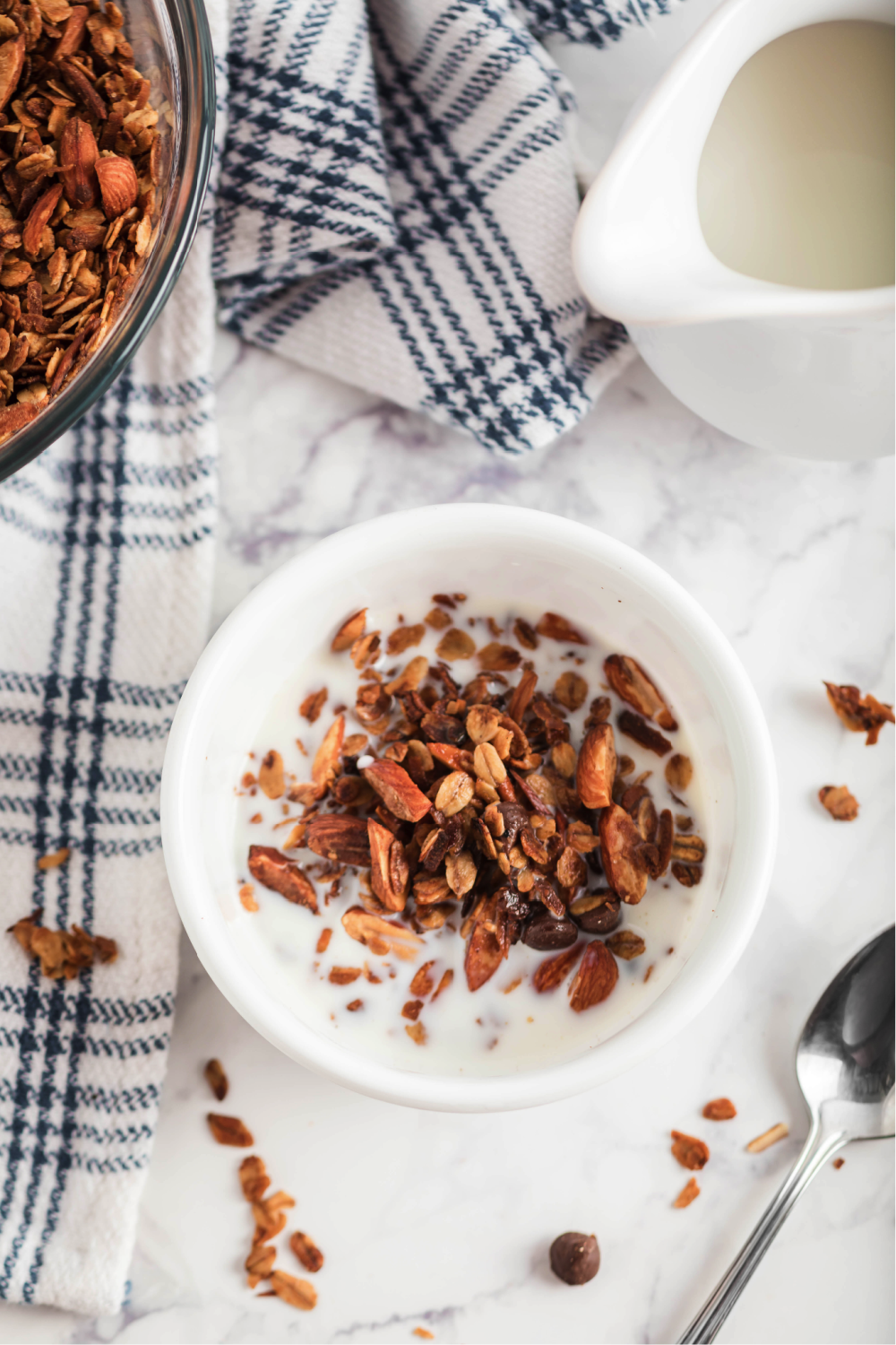 Homemade Granola in bowl with milk