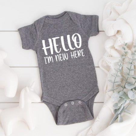 Hello I'm New Here on Baby Bodysuit