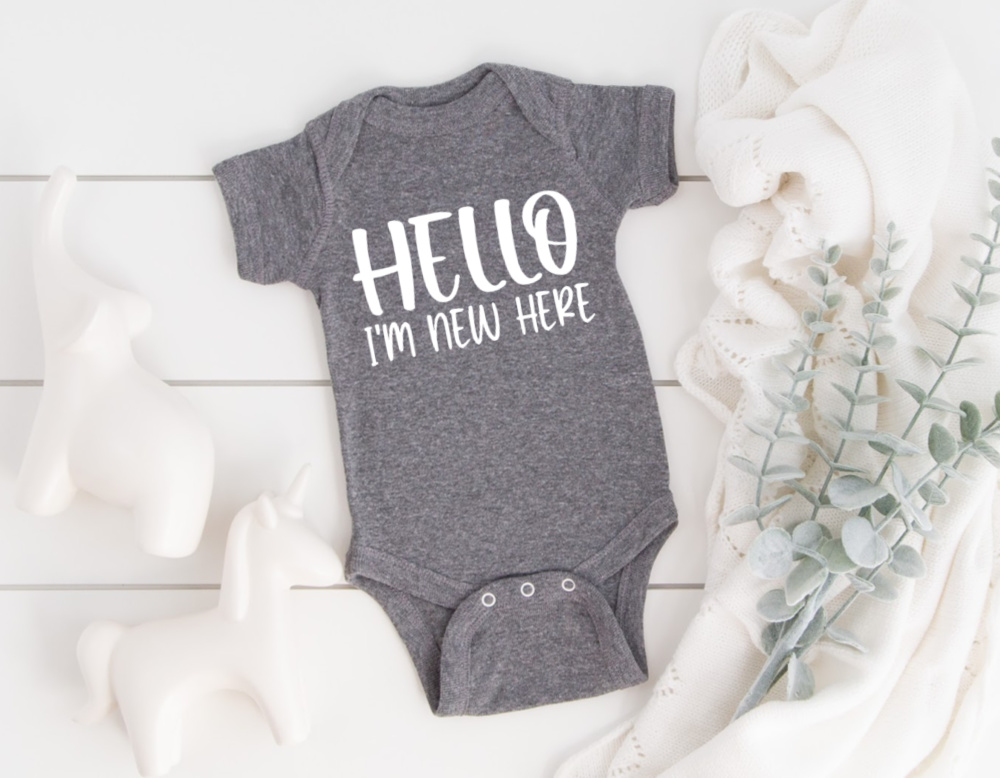 Hello I'm New Here on Baby Bodysuit