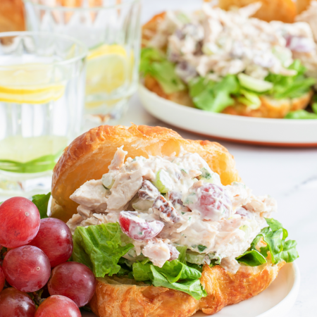 Chicken Salad on Croissant with Grapes and Pecans