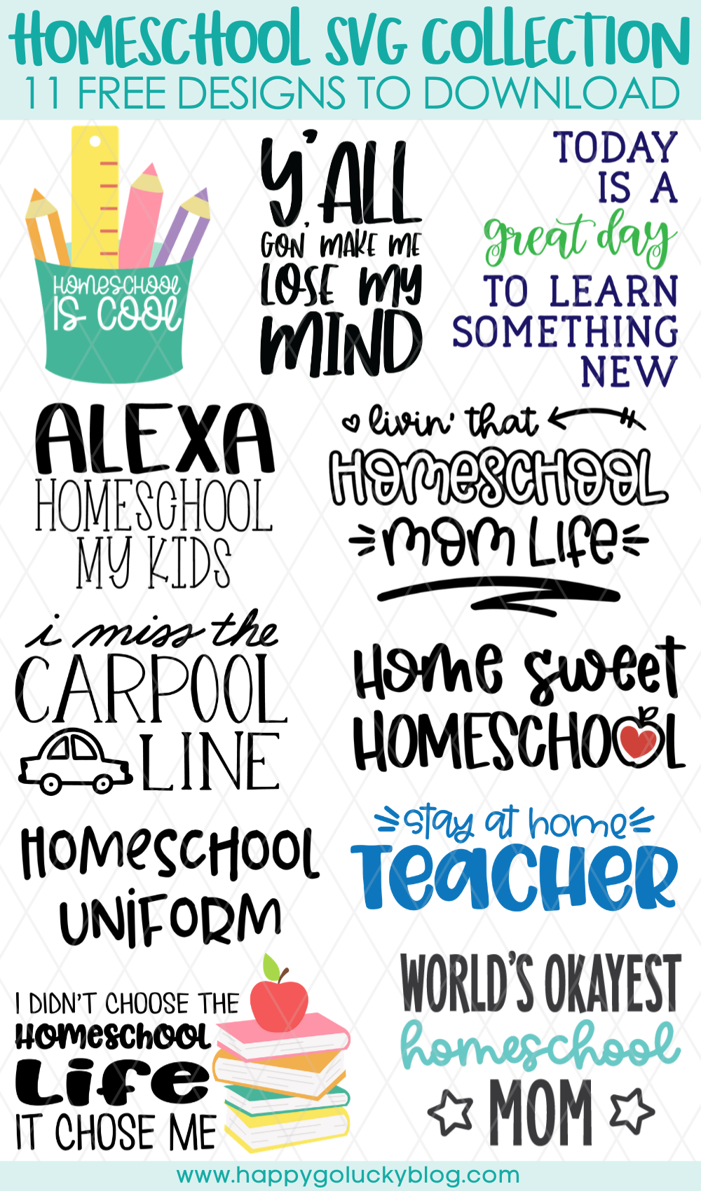 Homeschool SVG Collection 11 Free SVG Cut Files