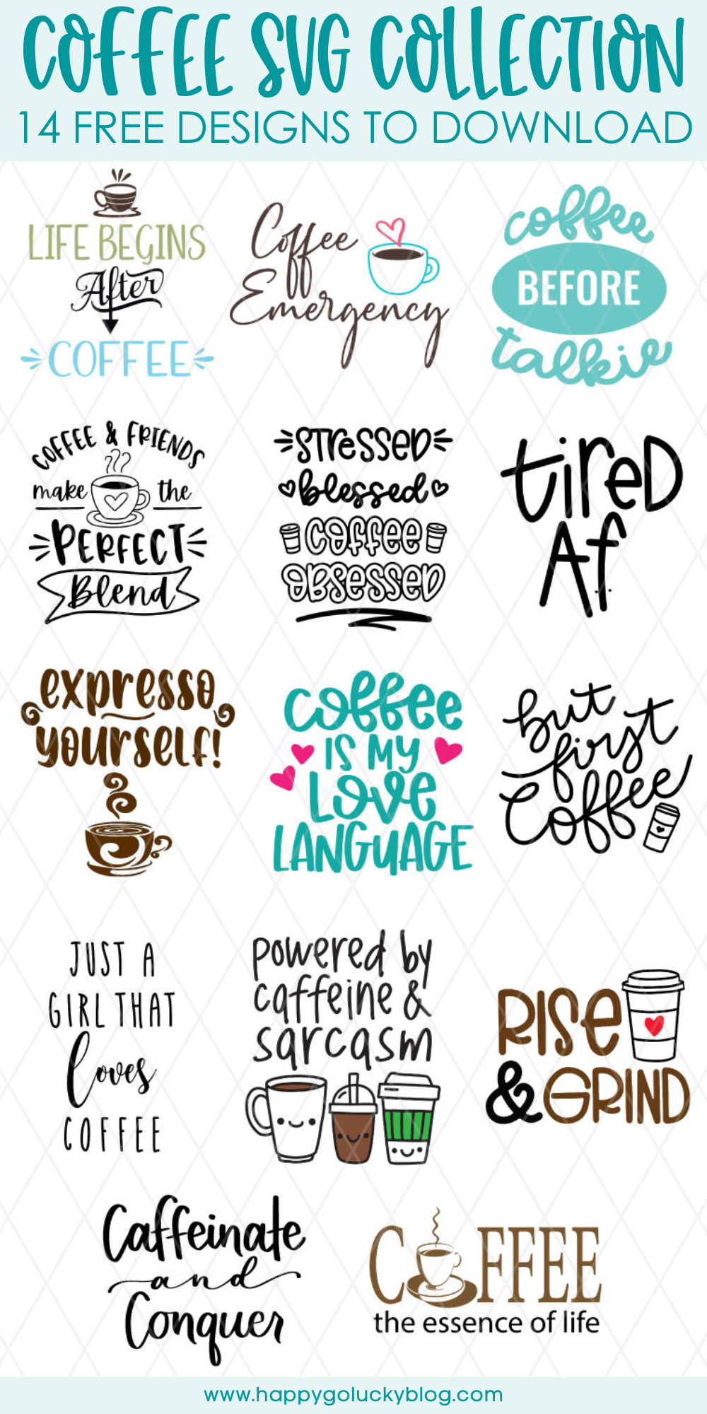 Coffee SVG Collection 14 free coffee cut files