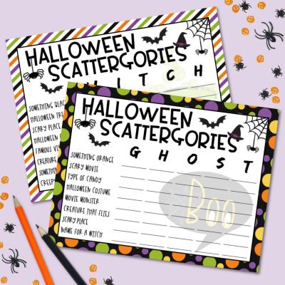 Halloween Scattergories Free Printable Game