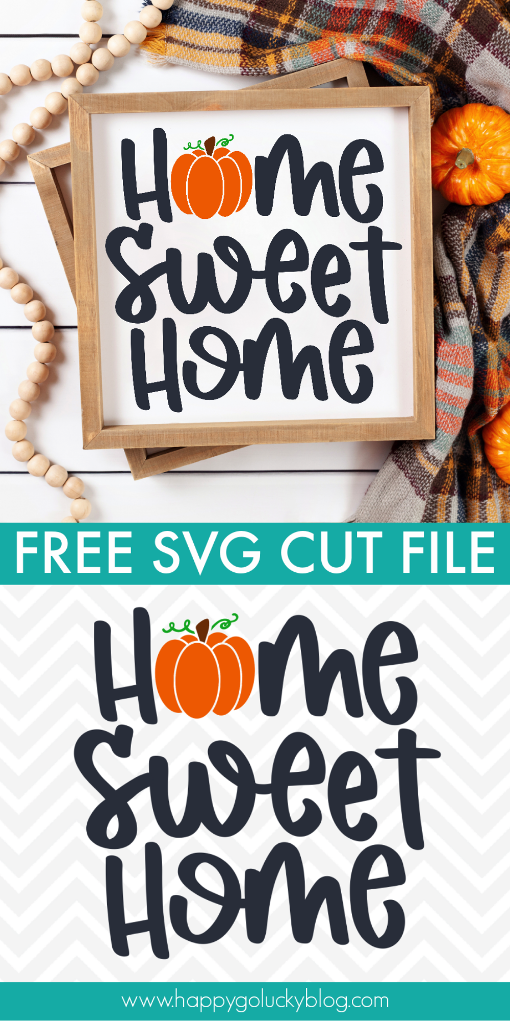 Happy Go Lucky Free Cut Files - Home Sweet Home Pumpkin SVG