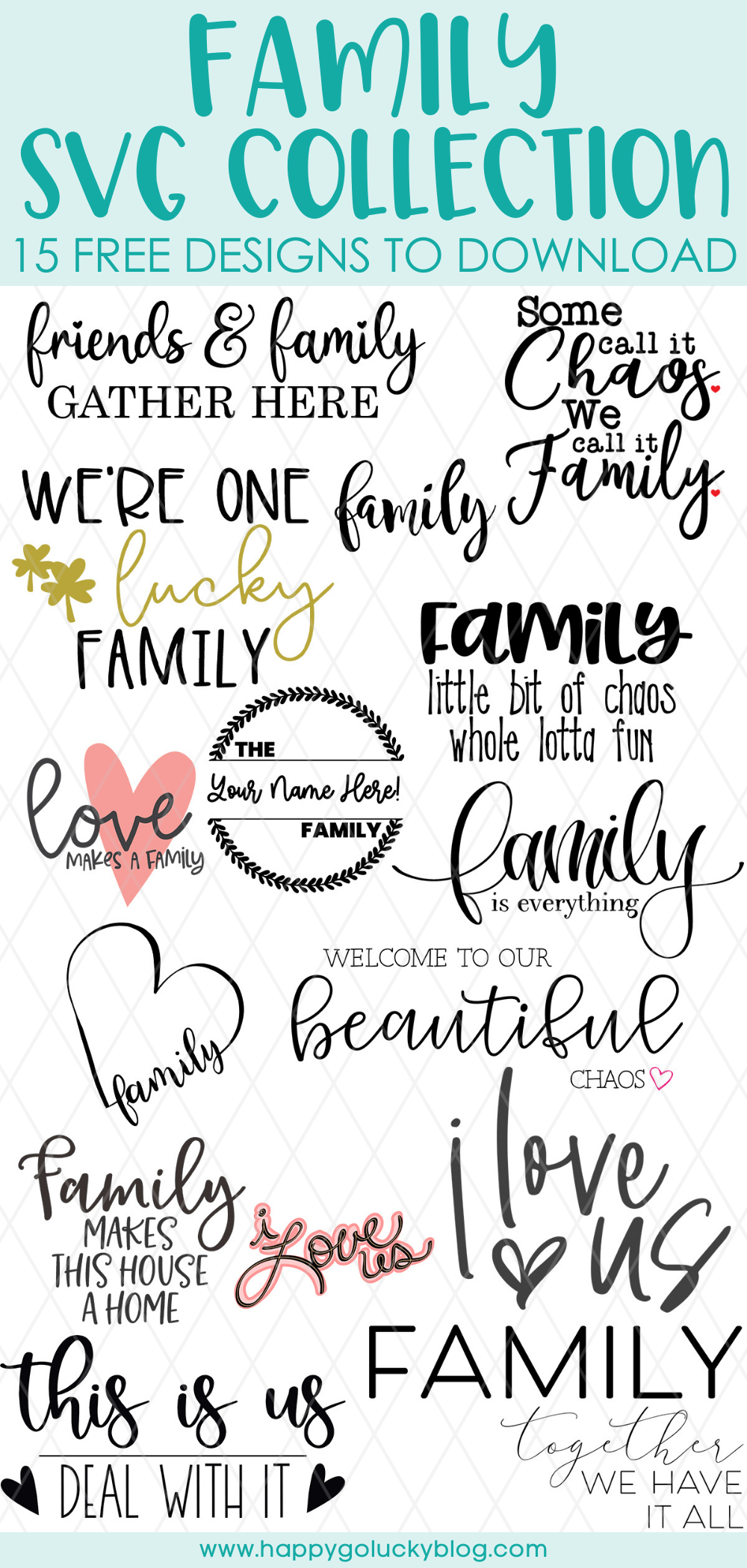Family SVG Collection 15 Free Family Cut Files