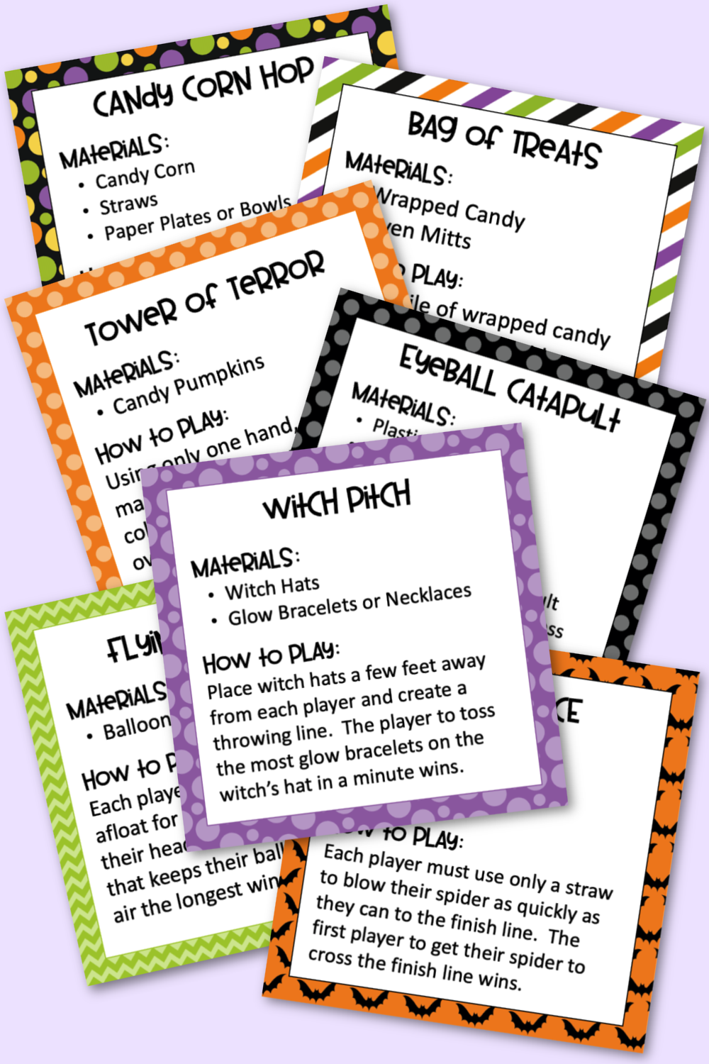 Halloween Minute to Win It Game Cards - Materials and Directions