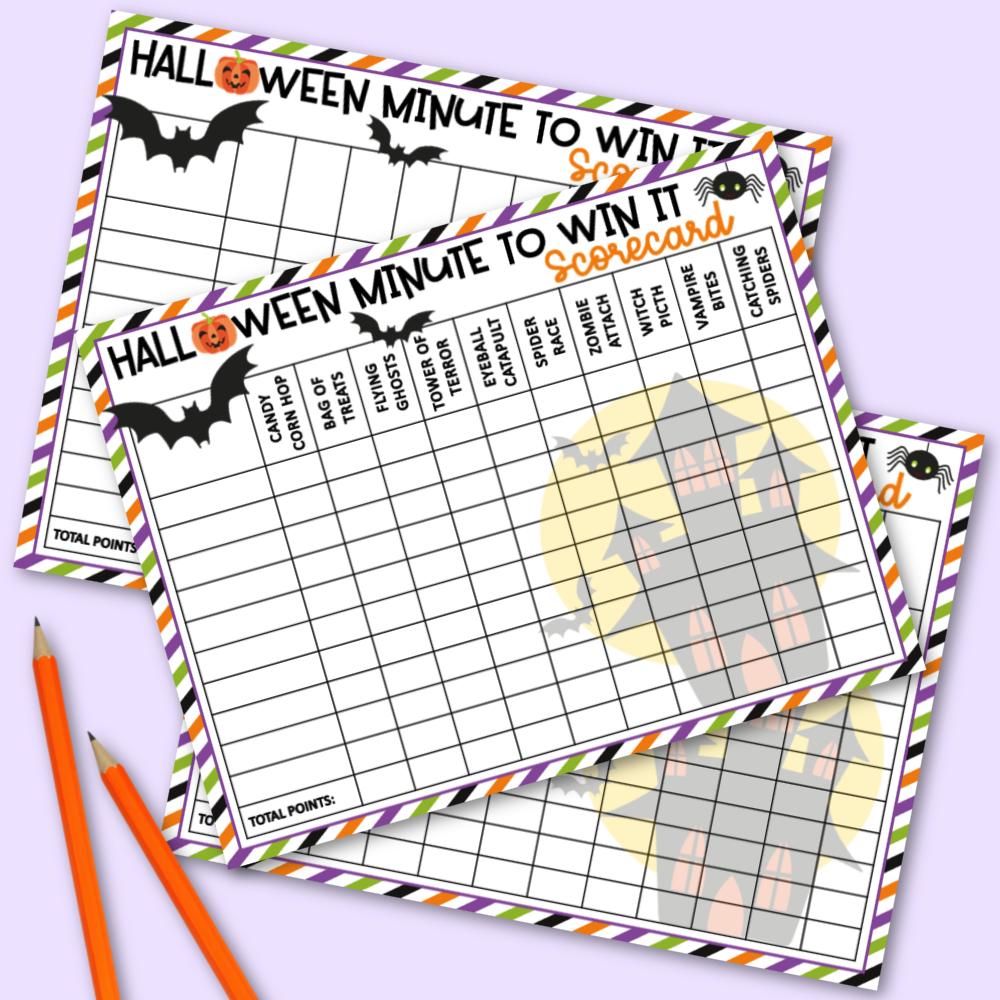Halloween Minute to Win It Games Scorecard