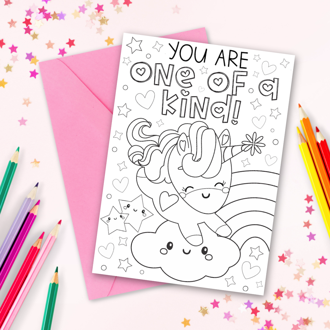 Unicorn Coloring Cards Free Printable