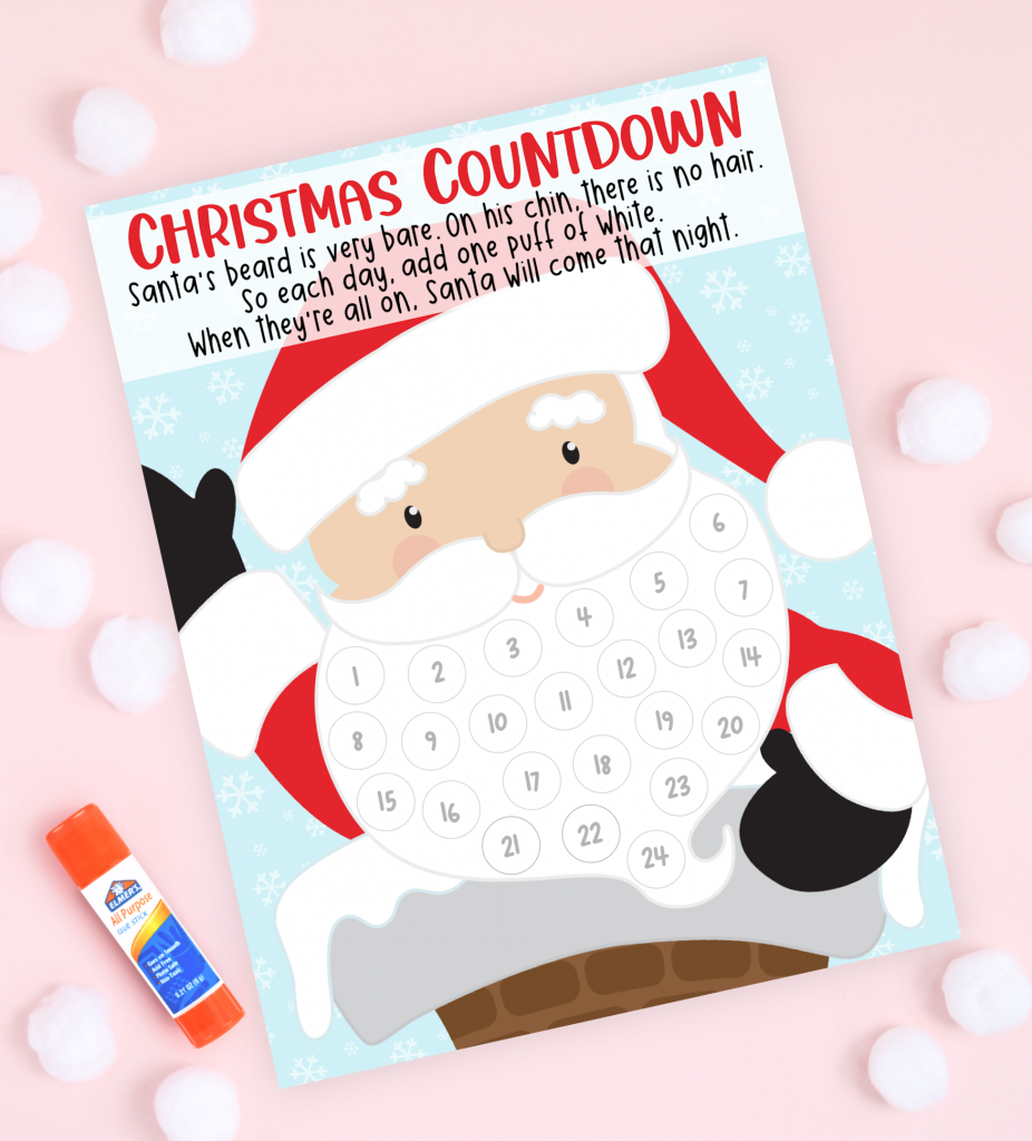 Let the countdown to Christmas begin with these fun and free Christmas Countdown Printables! Santa Christmas Countdown Free Printable
