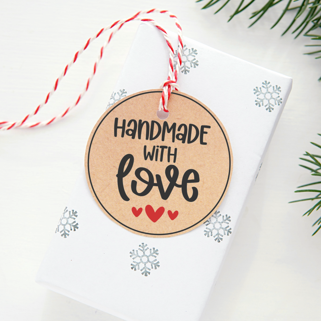 Round Handmade with Love Gift Tag on Gift - Free Printable