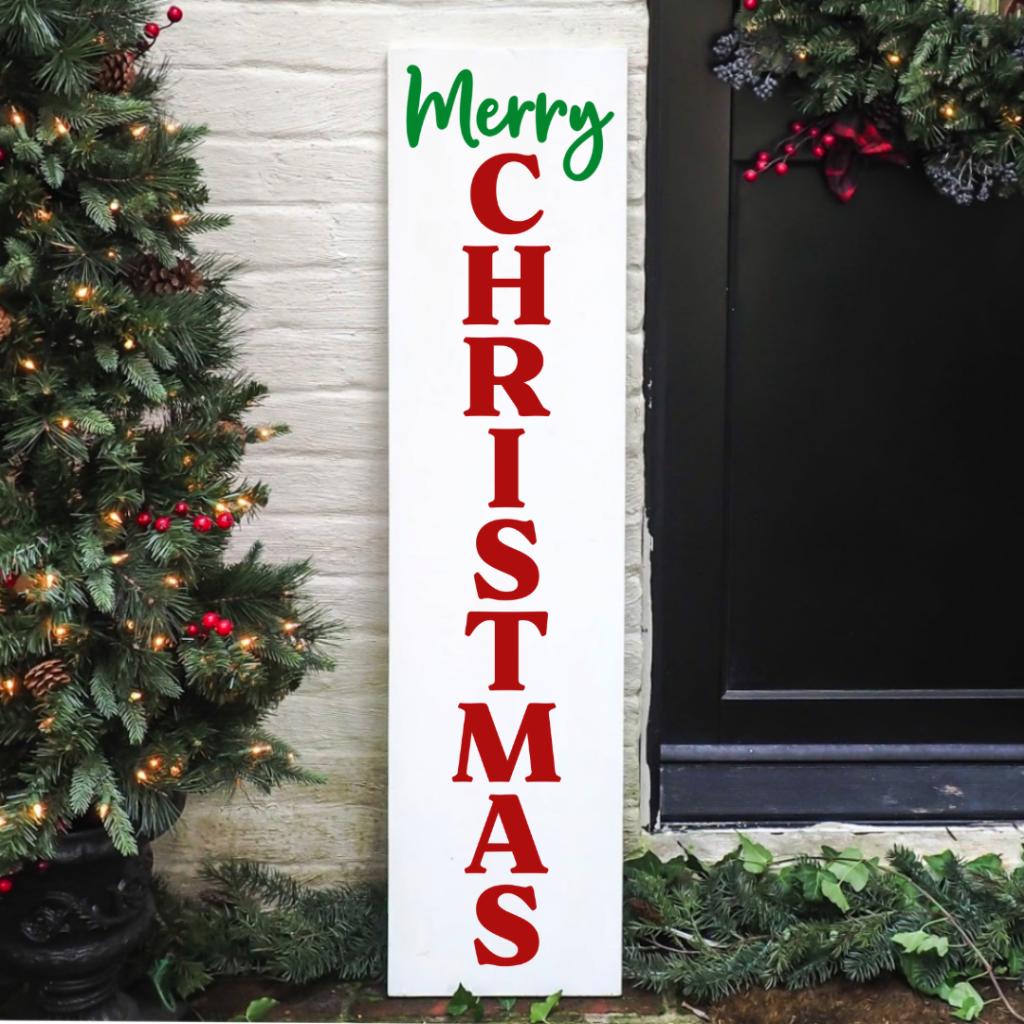 Christmas Porch Sign SVG - Make a festive Christmas porch sign using this free Merry Christmas vertical svg