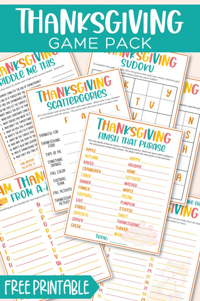 Thanksgiving Game Pack Free Printable