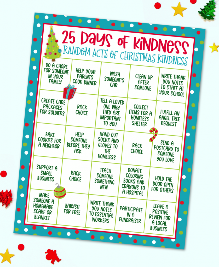 25 Days of Kindness Random Acts of Christmas Kindness Advent Calendar Free Printable