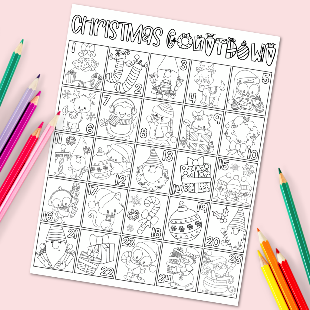 Let the countdown to Christmas begin with these fun and free Christmas Countdown Printables! Christmas Coloring Countdown Free Printable