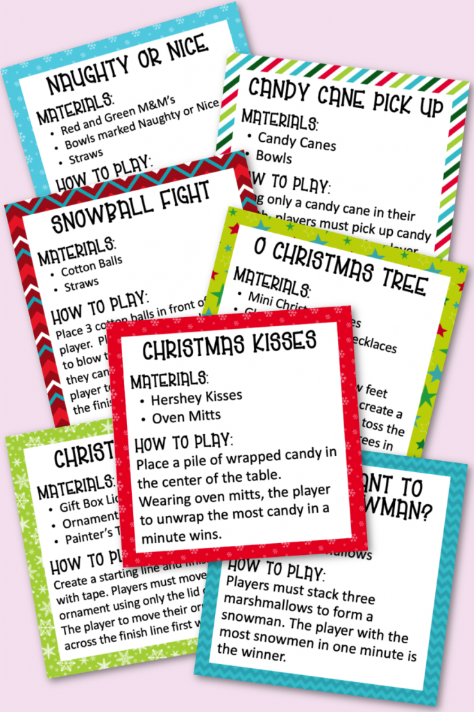 Christmas Minute to Win It Games Free Game Cards