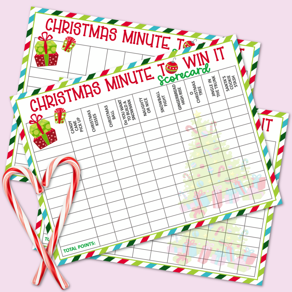 Christmas Minute to Win It Scorecards