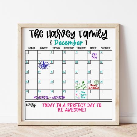 Family Calendar SVG on White Board