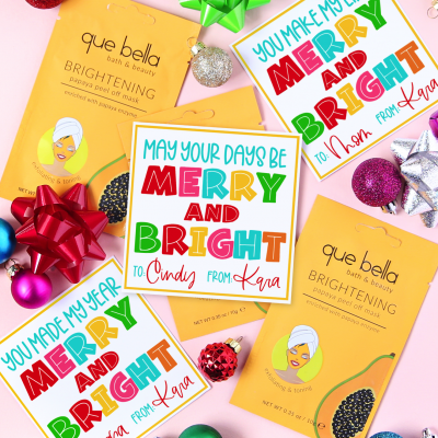 Merry and Bright Gift Tag with Face Mask